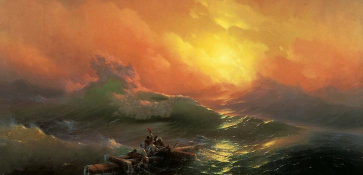 Репродукция картины Айвазовского «Девятый вал», на которой бушует море, идеально подходит для дома Скорпионов